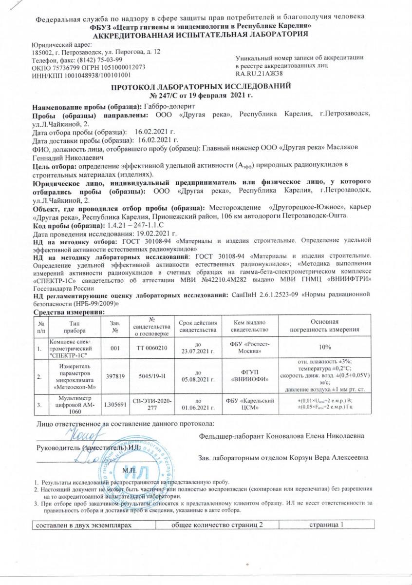 протокол лабораторных исследований Габбро-долерита от 19.02.2021