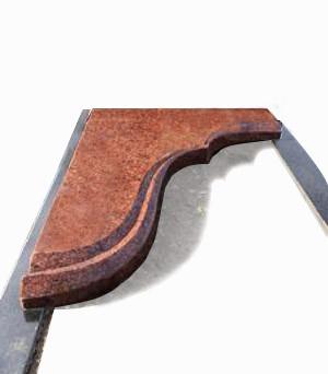 Фигурная укороченная надгробная плита №11 из красного гранита