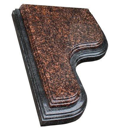 Надгробная плита двухуровневая из дымовского и черного гранита